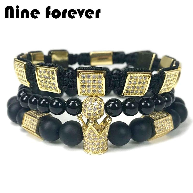 Nove para sempre naturais contas de pedra pulseira de homens jóias hexagon charme coroa trança pulseiras pulseira masculina bileklik