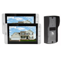 Home Wired 7 Inch Color LCD Touch Video Doorphone Intercom System Set With 2 White Screen
