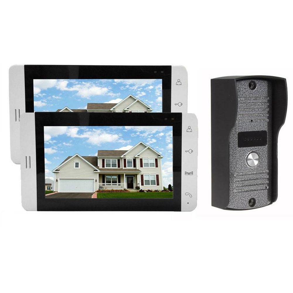 Home Wired 7 inch Color LCD Touch Video Doorphone Intercom System / Set With 2 White Screen Door IR 700TVL Cameras 7 inch video doorbell tft lcd hd screen wired video doorphone for villa one monitor with one metal outdoor unit night vision