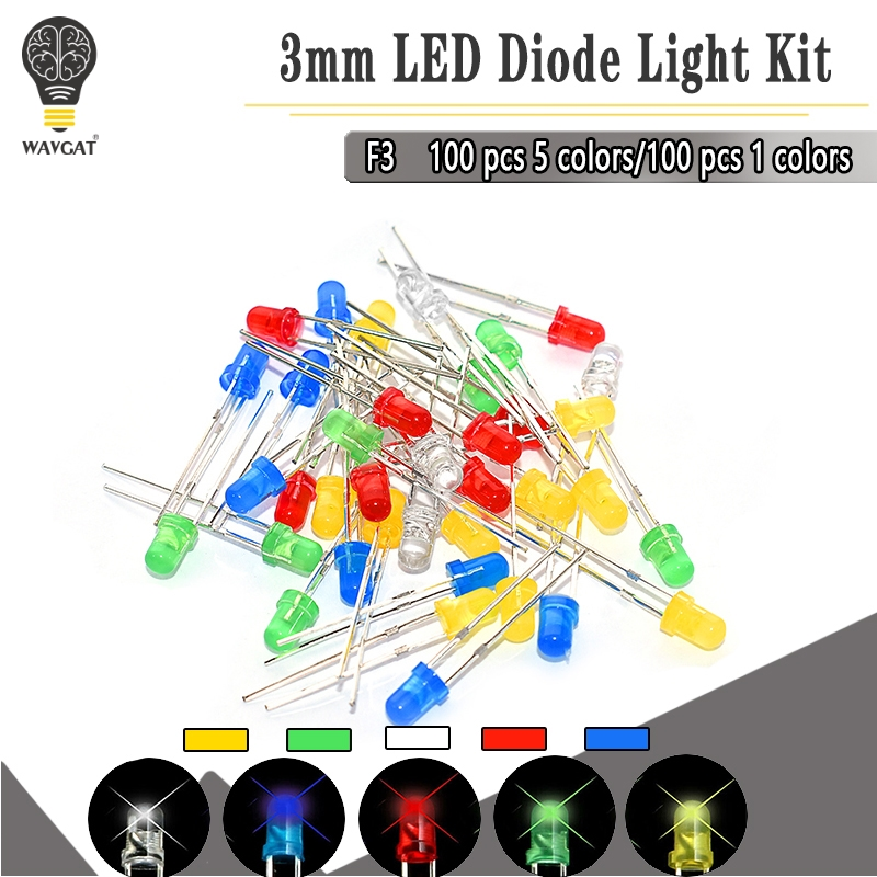 100PC/Lot <font><b>5MM</b></font> F3 3mm <font><b>LED</b></font> Diode Light Assorted Kit Green Blue White Yellow Red COMPONENT DIY kit image