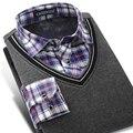 Caiziyijia 2017 inverno dos homens camisas xadrez de manga longa falso duas peças camisa engrossar quente knited slim fit casual bordado camisolas