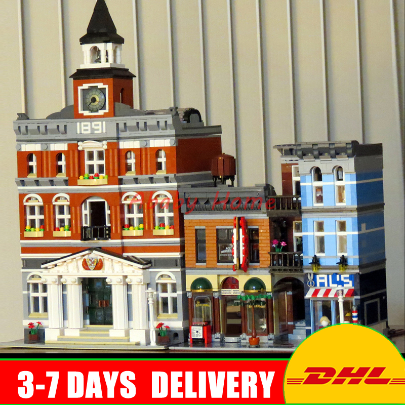 DHL Lepin City Street Series 15003 Town Hall+15011 The Detective's Office Building Blocks Bricks Model Toys Clone 10224 10197 dhl 2859 pcs lepin 15003 street town hall building set city street blocks model self locking bricks toy compatible 10224