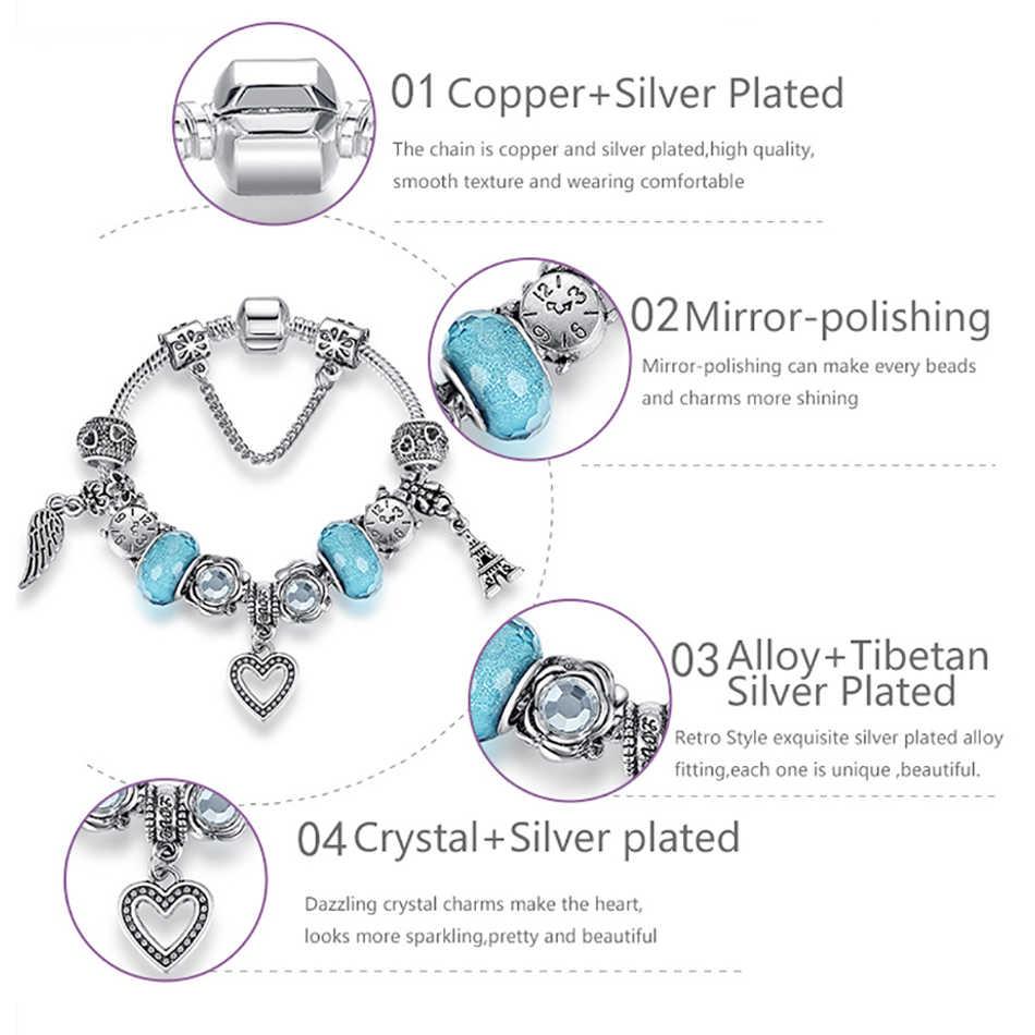 Винтажный тибетский серебряный Амулет браслет с пером и кубическим цирконием бусины браслеты дружбы для женщин DIY ювелирные изделия