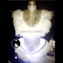 Free Shipping New White Feather Led Dress Performance Costume Led Festa Sexy Led Light Suit