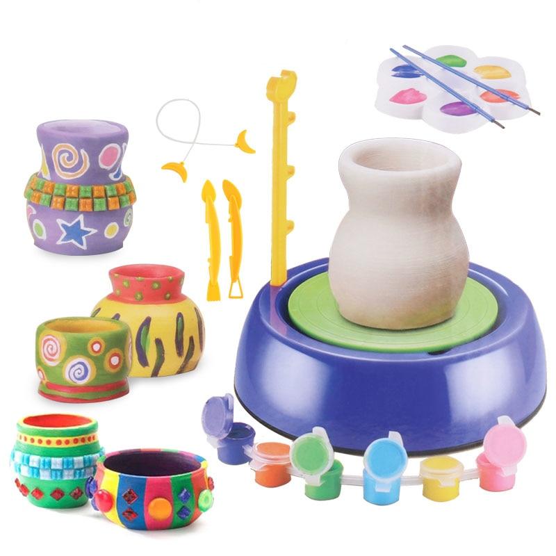Kids DIY Ceramic Art Machine Model Craft Toys For Girls Drawing Educational Toys For Children Handmade Funny Toy