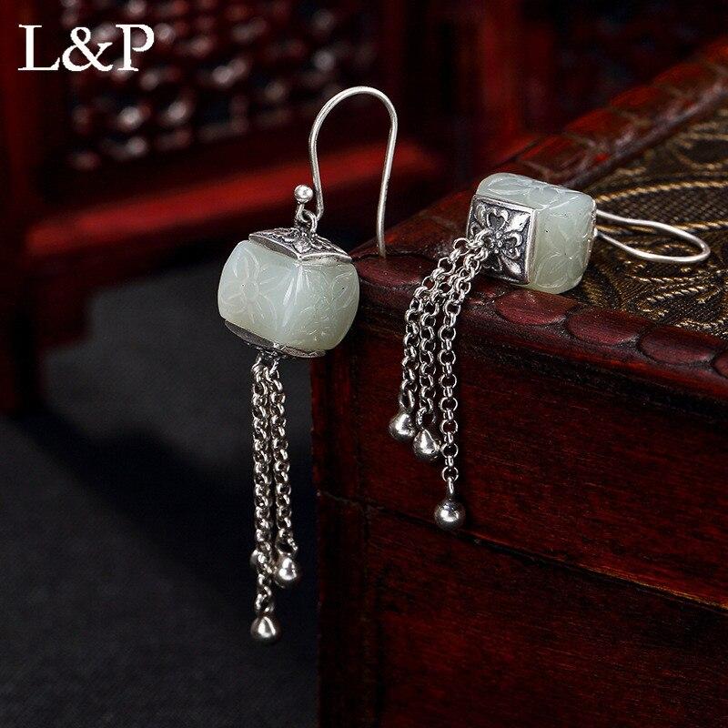 L & P Vintage naturel Jade glands boucles d'oreilles pour dame authentique 925 en argent Sterling élégant boucles d'oreilles beaux bijoux en gros