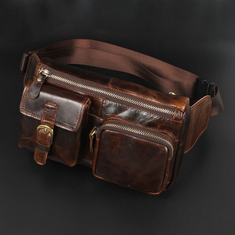 New Men Oil Wax Genuine Leather Cowhide Vintage Casual Belt Travel Cell Mobile Phone Sling Chest