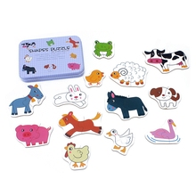 цена Baby Toys Iron Box Infant Early Head Start Training Puzzle Cognitive Card Vehicle/Fruit/Animal Set Pair Puzzle Educational Gift онлайн в 2017 году
