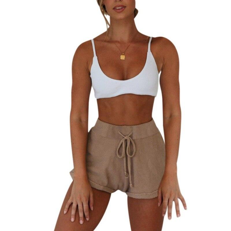 B 2019 Shorts SummerWomen Solid Color Casual Wide Leg Drawstring Elastic Waist Summer Loose Sports Shorts