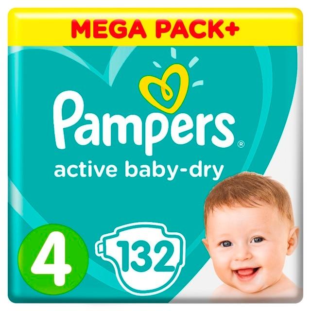 Подгузники Pampers Active Baby-Dry 9-14 кг, 4 размер, 132 шт.