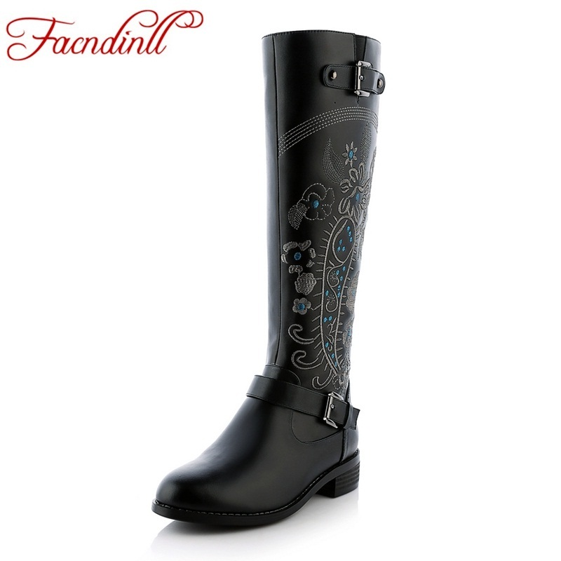 FACNDINLL brand shoes winter fashion embroider leather knee high boots genuine leather+pu black shoes woman thigh high boots бесплатная доставка micro sim card reader разъем для lg optimus l7 ii p715 для замены
