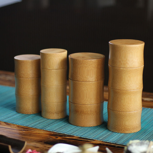 Bamboo Storage Bottles Kitchen Tea Container Jar Cans Case Organizer Spice Round Caps Seal Box Canister For Bulk Products 3