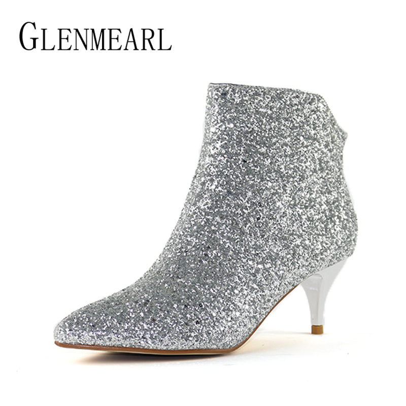 Brand Ankle Women Boots Winter Warm Plus Size High Hees Shoes Woman Bling Zip Pointed Toe Sexy Short Wedding Shoes For FemalesDO