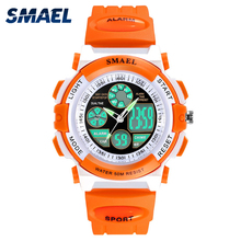 Children Watches for Girls Digital SMAEL LCD Digital Watches Children 50M Waterproof Wristwatches 0704 LED Student Watches Girls cheap 5Bar SPORT Dual Display Rubber Buckle Hardlex 21cm Metal 36mm ROUND 16mm 17mm Shock Resistant Stop Watch LED Display Auto Date