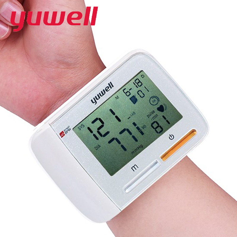 yuwell Wrist Blood Pressure Monitor Bi color lights reminder Health Care Portable Large Digital LCD Medical Equipment 8900A CE