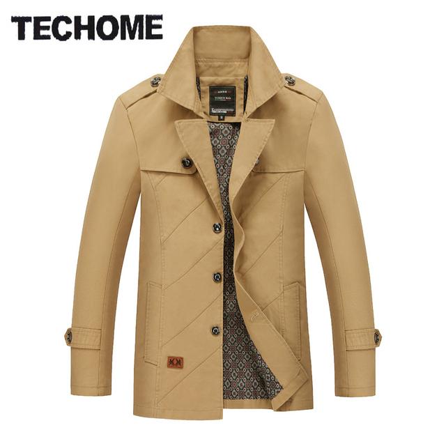 Homens jaqueta de Primavera Jovem Magro seção fina tamanho grande blusão jaqueta e seções longas de algodão dos homens jaqueta de primavera Trincheira casaco
