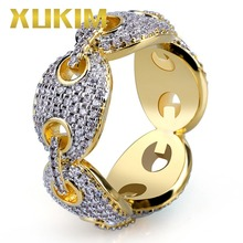 Xukim Jewelry Iced Out Gold Color Cuban Link Chain Hip Hop Mens Rings Gift Party Cubic Zirconia Rock Punk Rapper