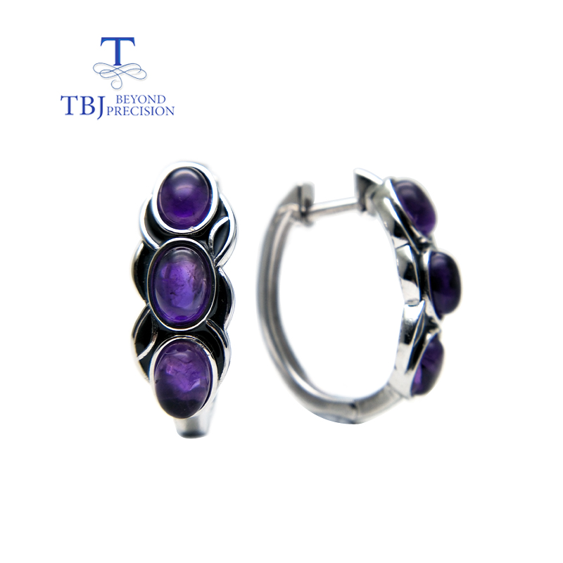 TBJ, vintage style earring with natural africa amethyst gemstone earring in 925 sterling silver design for women daily wear gift wwd women s wear daily 2012 11 26