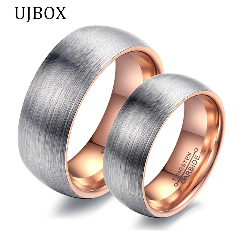 Superb UJBOX Frosted Tungsten Carbide Wedding Rings For Lovers Rose/Black Color Engagement  Ring For Women Men US Size 6 To 12 R579UX In Rings From Jewelry ...