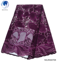 BEAUTIFICAL Purple mesh lace fabrics heavy sequin fabric 2019 latest african tulle high quality ML4N687