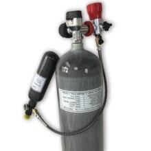AC168 6.8L+0.35L 4500psi Carbon Fiber SCBA Air Cylinder for PCP Rifle Hunting+black gauge valve+filling station+regulator