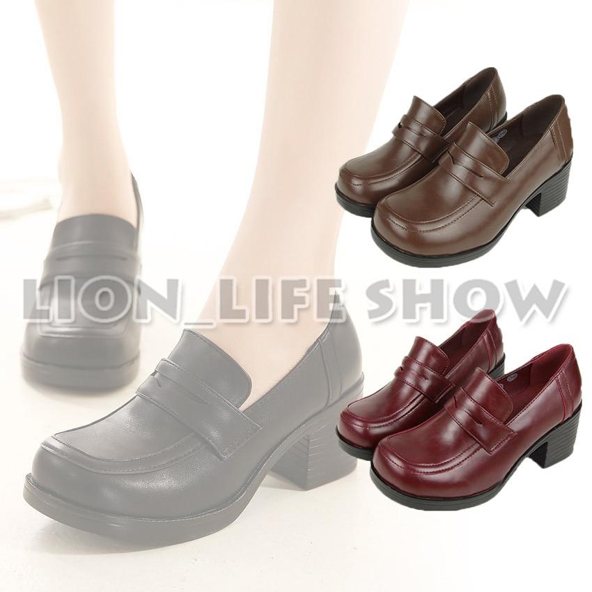 3 colors Women Japanese School Uniform Student Leather Black High Heel JK Shoes Cosplay