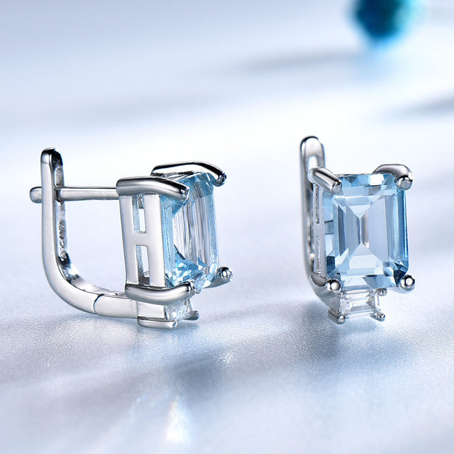 UMCHO Sky Blue Topaz Clip Earrings for Women Solid 925 Sterling Silver Princess Cut Trendy Silver 925 Jewelry Birthstone Gift