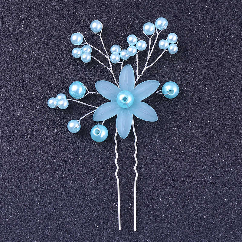 Handmade Blue Pearl Wedding Hair Pin And Clip Bridal Hairpin Hairpiece For Women Bridesmaid Prom Accessories Jewelry