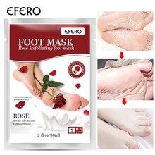EFERO 1Pair Baby Feet Exfoliating Foot Mask for Legs Cream Heels Remove the Skin Smooth Pedicure Spa Socks Rose Essence