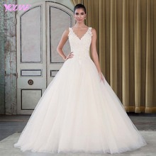 Sexy V-Neck Aline Wedding Dresses 2017 Bridal Gown Dress Tulle Appliques Beads Back Zipper Sweep Train