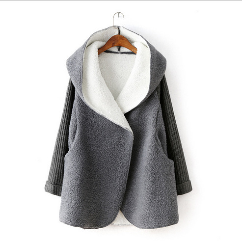 2018 autumn and winter new fashion wave thickened lambskin stitching knit sweater sleeve bat hooded women cardigan 50183