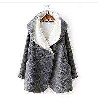 2018 Autumn And Winter New Fashion Wave Thickened Lambskin Stitching Knit Sweater Sleeve Bat Hooded Women