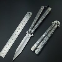 No Edge Stainless Steel Silver Black Practice Butterfly In Knife Trainer Training Folding Knife EDC Tool