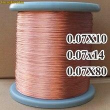 Chenghaoran 1 미터 0.07x10 0.07x14 0.07x80 가닥 공유 빔 빛 가닥 꼬인 구리 litz 와이어 좌초 라운드 구리 와이어