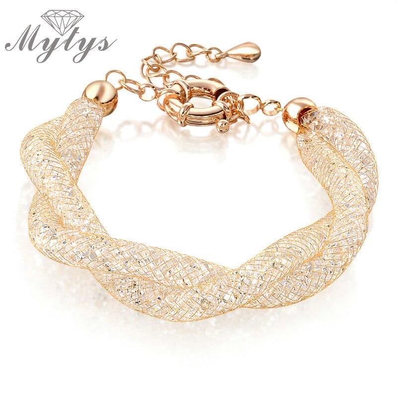 Mytys Double Wire Mesh Tube Crystal Bracelets for Women Rose Gold GP Crystal Chain Bracelet Mesh Design Women Gift B235
