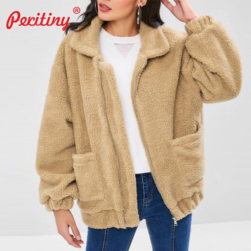 bec3b93b5df Peritiny Fashion Faux Fur Coat Women 2018 Autumn Winter Warm Soft Zipper  Fur Jacket Female Plush