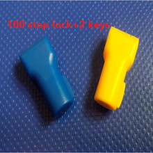 100pcs/lot Retail display pegboard slatwall security hook stoplock magnetic stop lock+2pcs magnetic detacher keys