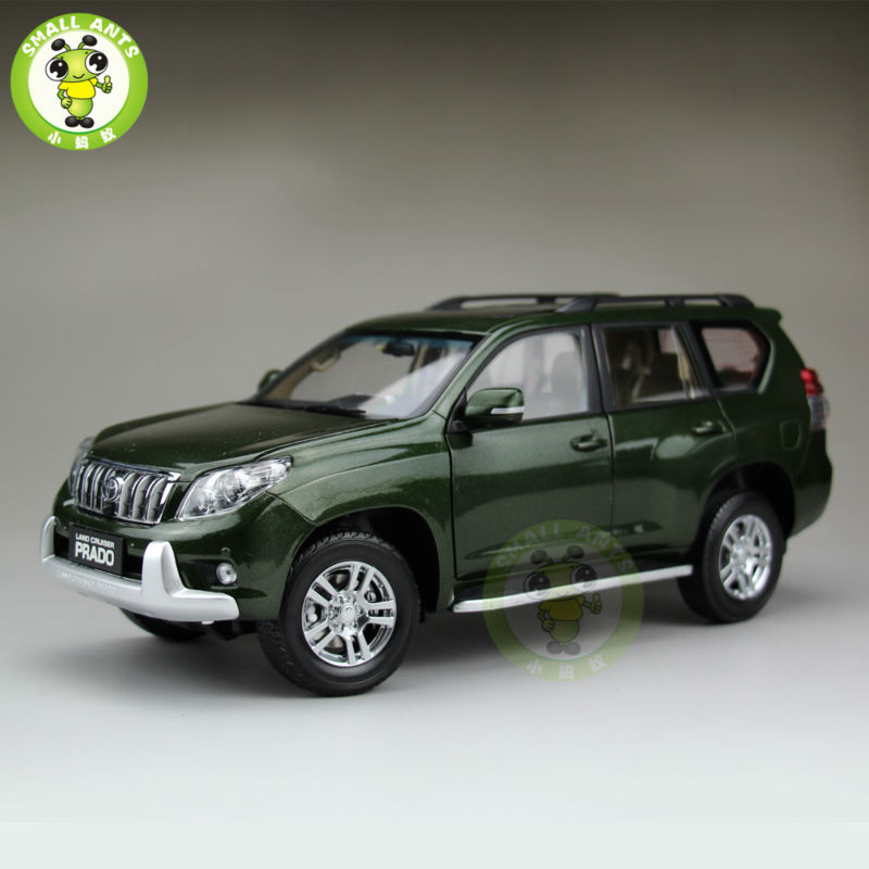1:18 échelle Toyota Land Cruiser Prado moulé sous pression SUV voiture modèle jouets pour cadeaux collection passe-temps vert