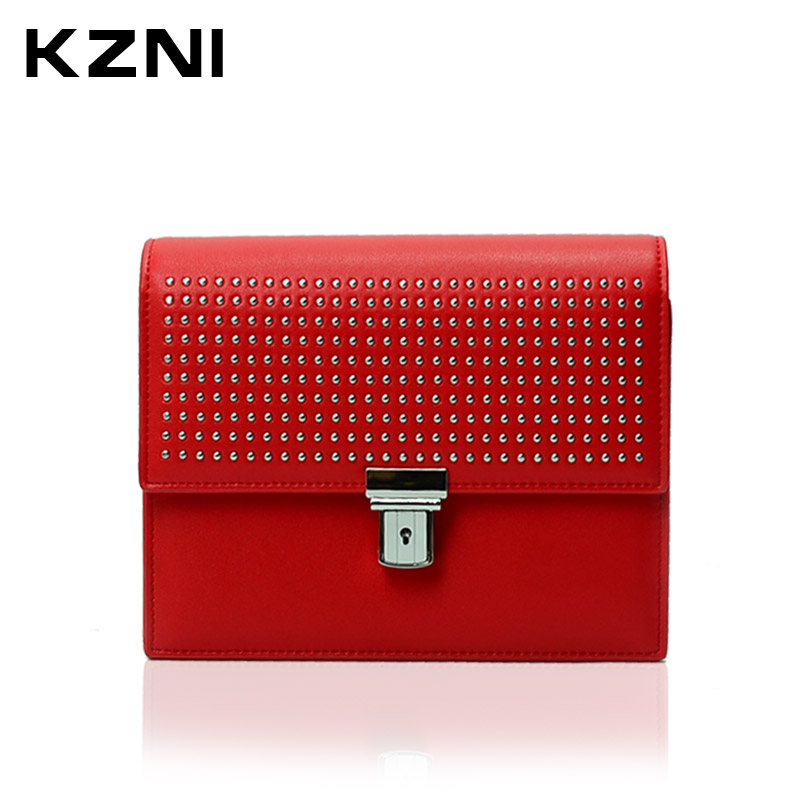 KZNI Genuine Leather Handbag Women Rivet Crossbody Chain Bag Designer Handbags Shoulder Bags for Girls Sac a Main Femme 9001 genuine leather studded satchel bag women s 2016 saffiano cute small metal rivet trapeze shoulder crossbody bag handbag