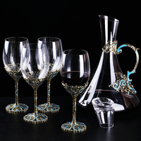 Bar Set Decanter Enamel tall cup Creative lettering Wine Cup set Whiskey Glass Crystal Decanter Glass Decanter Red Wind Glass