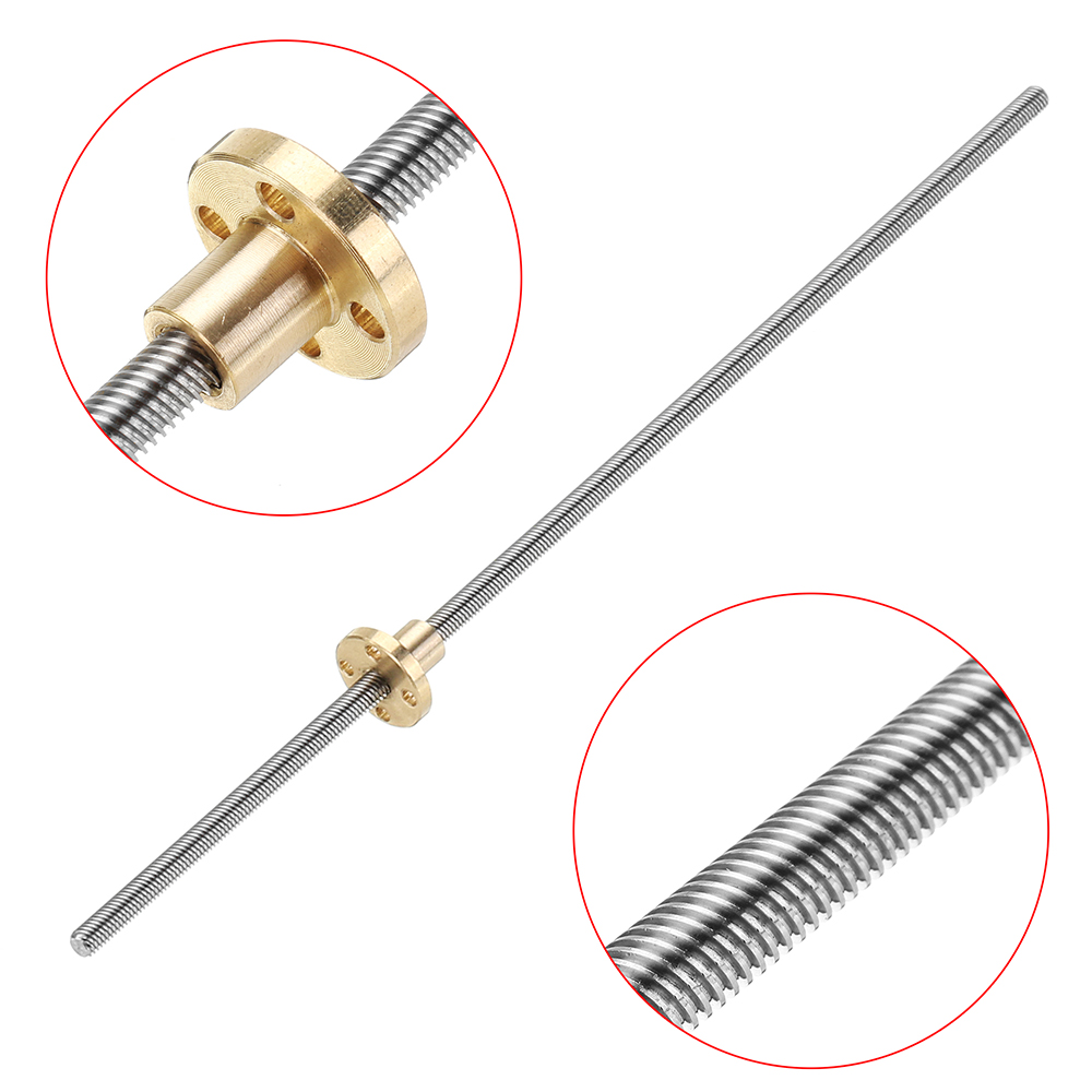 T6 Lead Screw 300mm Length 6mm Thread 1mm Pitch Lead Screw with Copper Nut For Stepper Motor driving Guide Rail