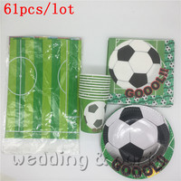 Hot Sale 61 Pcs Set Football Theme Birthday Decorations Kids Moana Supplies Party Tableware Pj Mask