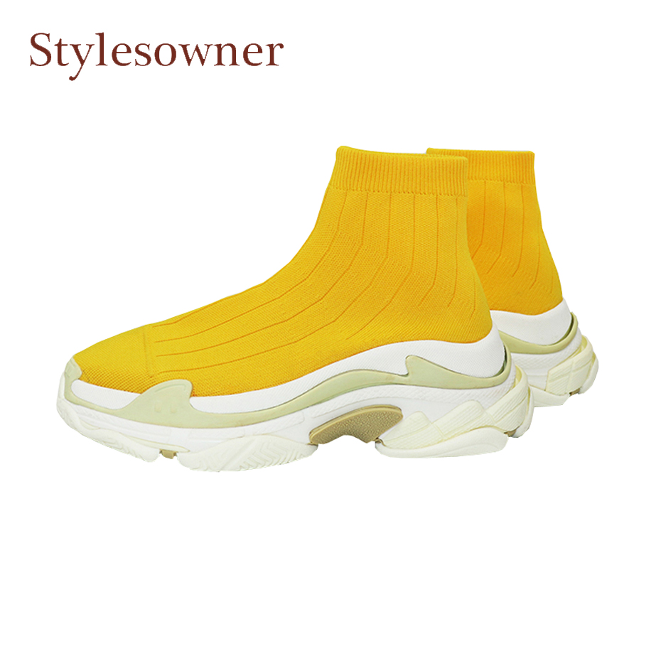 Stylesowner purple style thick bottomed dad shoe women ankle boots stretch knit spring sock boots platform causal shoes hot sale