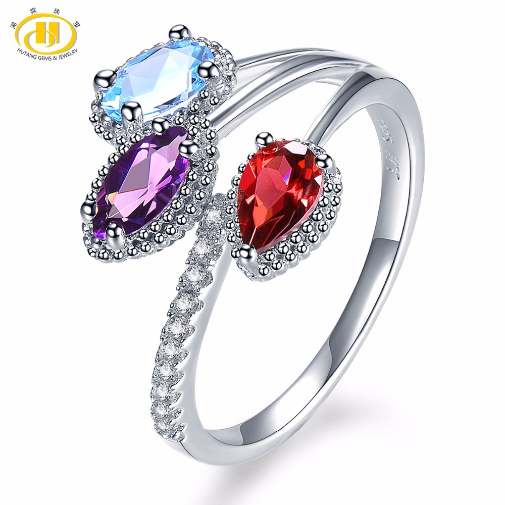 Hutang Natural Multi Gemstone Rhodolite Garnet Amethyst Blue Topaz Solid 925 Sterling Silver Ring Fine Jewelry presents Gift NEW showcase presents blue beetle volume 1