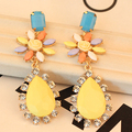 2014  new color stone  flowers earrings 12pcs/lot