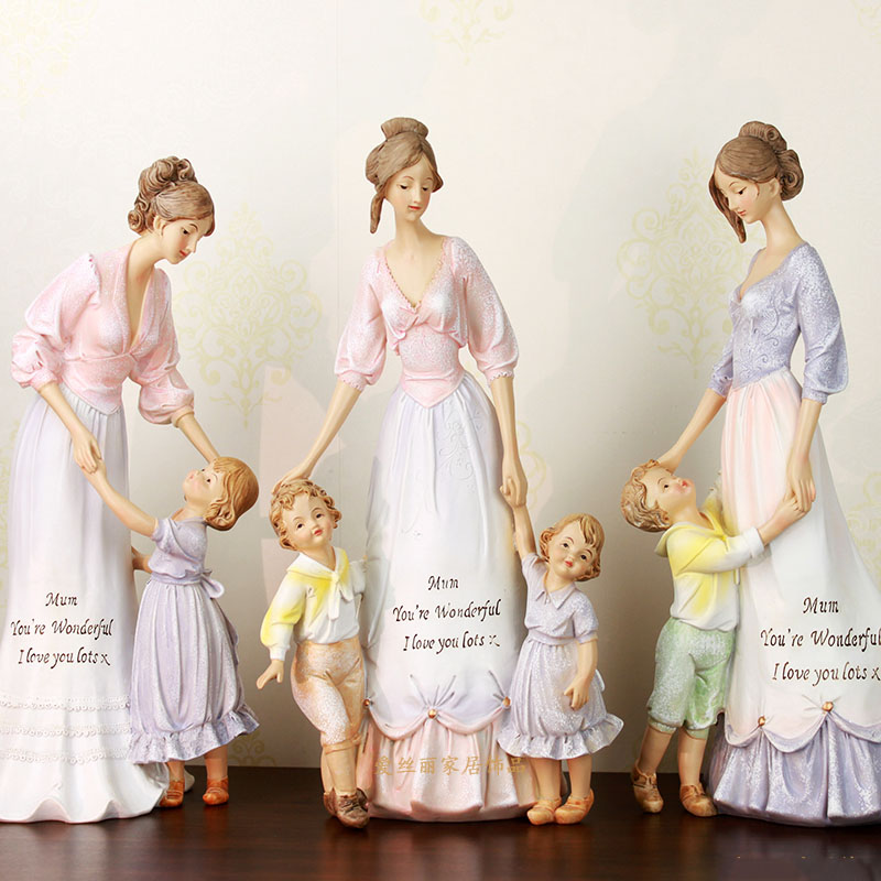 European Creative Resin Children Mother Statues Crafts Home Furnishing Accessories Retro Family Desktop Figurines Ornament Decor-in Figurines & Miniatures from Home & Garden    1