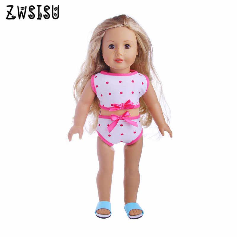 Trajes de baño de lunares rojos adecuados para muñecas recién nacidas de 43cm y accesorios para muñecas de 18 pulgadas b990