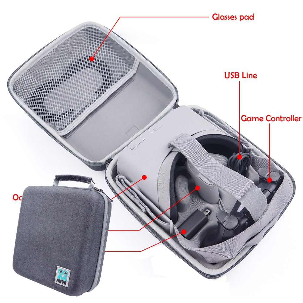 Waterproof Canvas fabric Handbag For XIAOMI Storage Carry Bag Travel Case for Oculus Go VR Glasses all-in-one Pouch Portable New цены онлайн