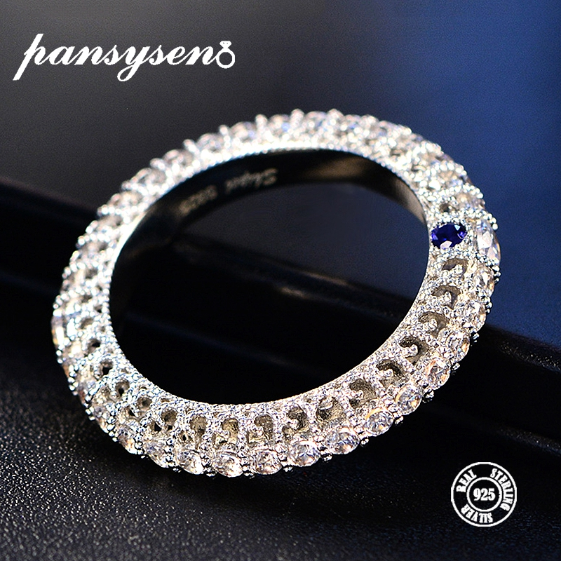 PANSYSEN Top Brand 925 Silver Jewelry Rings For Women Wedding Circle Couple Ring Size 5-10 Wholesale Fine Jewlery Gifts