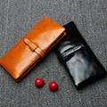 Mujeres de moda genuina carteras de cuero para mujer 100% realmente aceite de cera del zurriago sólido cerrojo larga Purse mujer Money Clip JZ5148